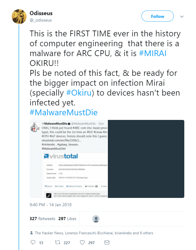 "First IoT ARC Botnet ""Okiru"" Discovered"