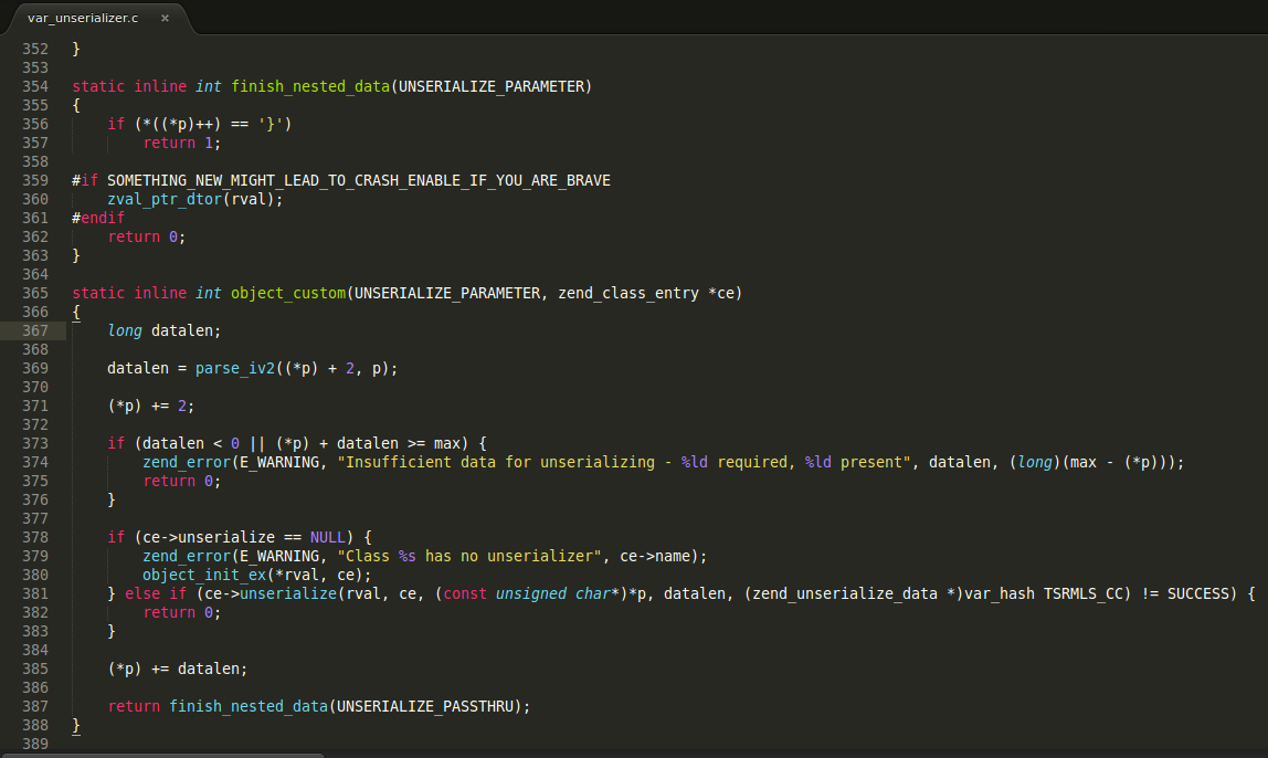 Sample source code from /ext/standard/var_unserializer.c