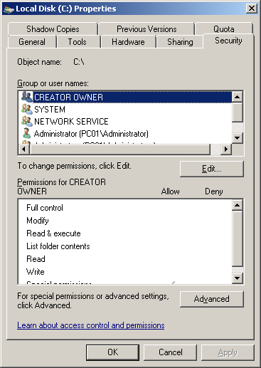GUI to manage access rights is accessible via Windows Explorer