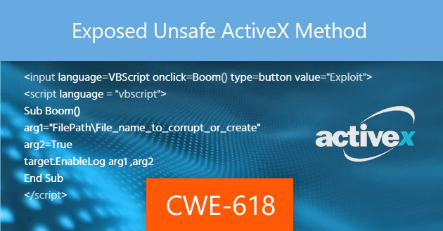 Exposed Unsafe ActiveX Method [CWE-618]