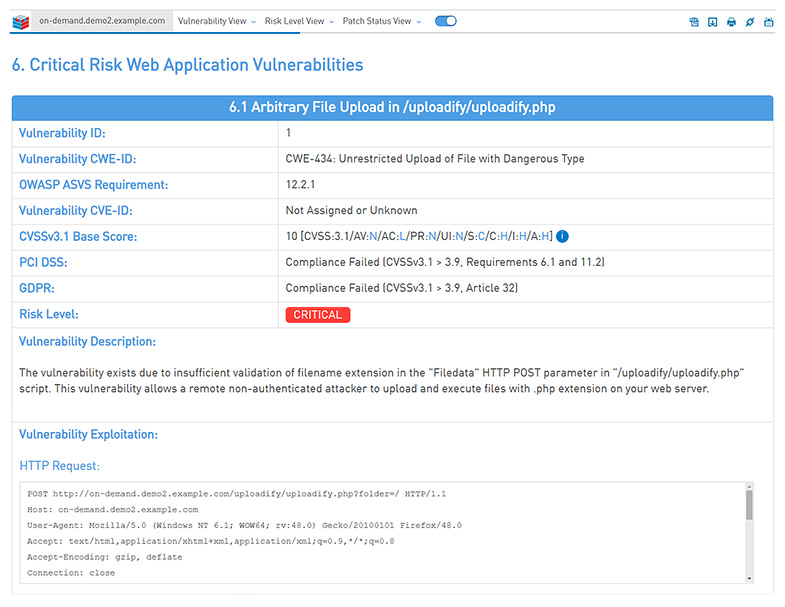 ImmuniWeb On-Demand Screenshot